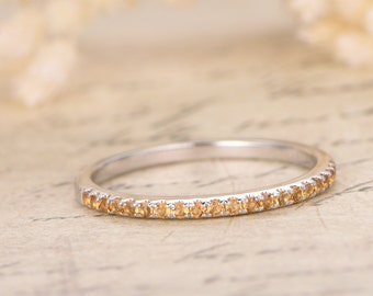 14K Yellow Gold Wedding Band Half Eternity Ring Yellow Citrine Engagement Ring Stackable Ring Pave Citrine Ring Citrine Wedding Ring