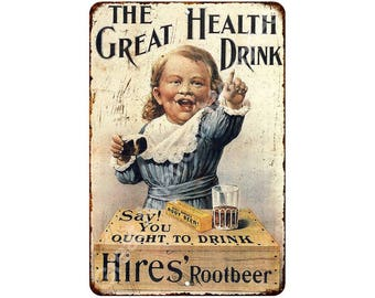 Hires Root Great Health Drink Vintage Look Reproduction Metal Sign 8 x 12 8120054