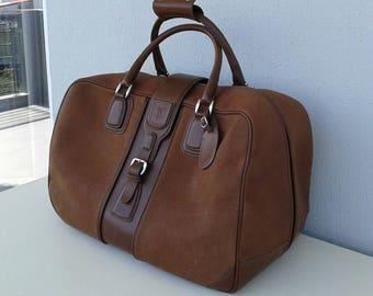 SALE! Vintage Gucci brown leather travel bag / weekender/ overnight