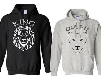 Couples Hoodie, King shirt queen shirt, king and queen, lion king, custom hoodies, printed hoodie couple funny hoodie husband wifey hoodies
