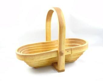 Collapsible Basket, Collapsible Wooden Basket, Wood Basket, Natural Wood Basket, Vintage Pop up Basket