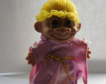 Vintage 1980s 5 Inch Russ Berrie Princess Fairytale Rapunzel Troll Doll Collectible Gift Sister Friend Daughter