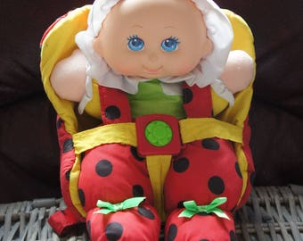 Vintage Playskool Ladybird Design Soft Baby Doll In Carrier, 1990s, Collectible, Soft Toy, Doll Carrier, Gift, Daughter, Sister, Friend