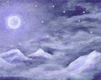 Moon, Clouds, Mountains, Stars, Moonlight, Star dust, Night sky, Original painting, White, Violet, 9 x 6 inches, NO FRAME