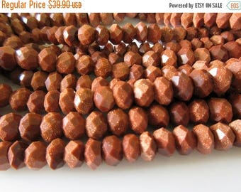 ON SALE 50% 8mm Sunstone Beads, Faceted Rondelle Beads, AAA Sunstone Rondelles, Gemstone Beads, 15 Inch Strand, Gds114