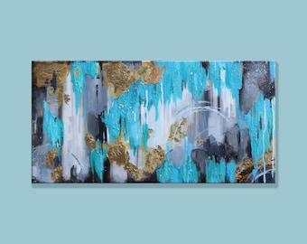 Blue-Gold-Gray - abstract acrylic on canvas painting- 12x24