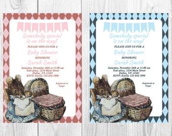 Hunca Munca Beatrix Potter Baby Shower, Vintage Baby Shower, Mother and Baby Mice, Beatrix Potter, Hunca Munca, You print