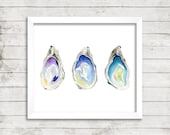 Oyster Watercolor Print. Oyster Art. Watercolor Art Print. Ocean Art Print. Coastal Art. Shell Art. Beach House Print. Beach House Art.