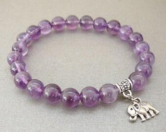 Elephant Bracelet Amethyst Bracelet for girlfriend Gift for women Gift genuine amethyst gemstone bracelet stretch bracelet Elephant jewelry