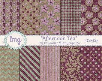 """Pink Digital Paper - """"Afternoon Tea"""" - Shabby Chic, Vintage Floral Backgrounds, Junk Journal, Vintage Journal Paper, Instant Download, CU"""