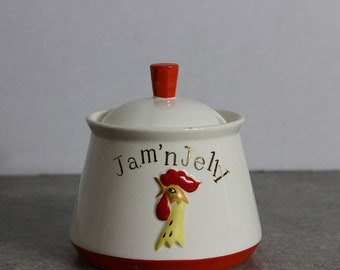 Vintage Kitchy Holt Howard Jam'n Jelly Rooster Jam Jar 1961