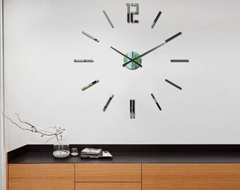 Large wall clock, Big wall clock, Wall clock 29.53, 75cm Carlo MIRROR, Modern Wall Clock