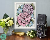 Vintage Tattoo Flash Art Roses and Flowers Bouquet Digital Illustration Painted Canvas Neo Traditional Floral Home Decor Print