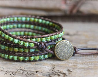 Beaded Wrap Bracelet, Leather Wrap Bracelet, Beaded leather Bracelet, Wrap Bracelet, Wrap Bracelets, Leather Beaded Bracelet, Bracelet wraps