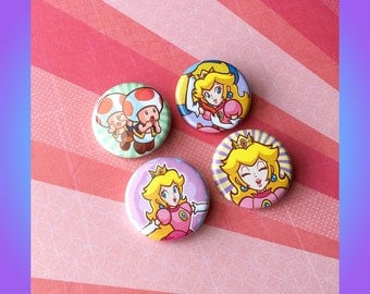 Princess Peach Pinback Button Set!