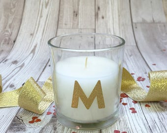 Bridesmaid candle. Personalised wedding thank you gift. Personalised, gold initial votive candle. Fresh linen scent.