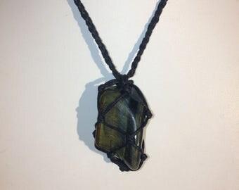 Blue Tigers Eye Crystal Hemp Necklace, Hawks Eye Crystal Hemp Necklace, Stones to Open Chakras, Natural Necklace, Healing Crystals