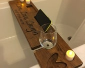 Custom Personalized Rustic Bath Caddie with candle, iphone and accessory holders