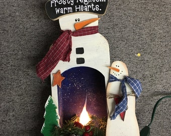 Frosty Nights, Warms Hearts Lighted Rustic Snowman