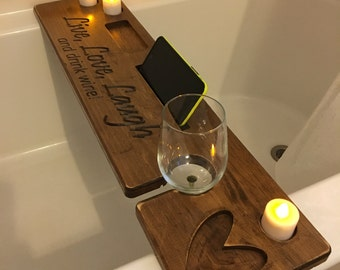 Personalized Rustic Bath Caddy, Bath Tray, Bath Board with candle, phone/tablet holder, wine glass holder