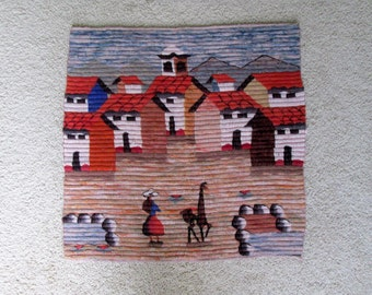 South American Wall Hanging / Woven Tapestry / South America / Latin America / Town / Llama / Alpaca / Village