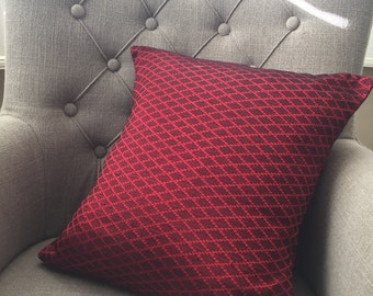 Red Silk Patterned Cushion Cover
