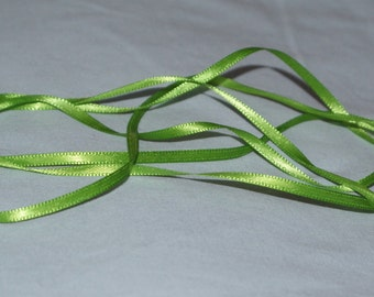 3 mm green double sided satin ribbon-5 metres