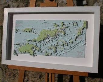 Hand cut 3D Nautical Relief Model of Tortola and The British Virgin Islands