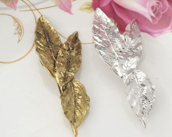Gold Grecian leaf hair clip, leaf hair barrette, wedding hair clip, gold leaf hair, woodland wedding, bridal hair accessory,  gold leaf clip