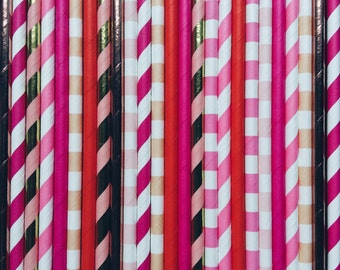 Flamingo | Paper Straws | Children's | birthday | party | wedding | baby shower | traditional | vintage | stripe  | straws | red | pink