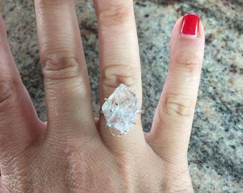 Sterling silver Herkimer diamond ring size 7