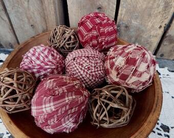 Burgundy Red Homespun Rag Balls, Red Bowl Fillers, Fabric Balls, No Styrofoam, Country Rag Balls, Primitive, Rag Balls for Sale, Dark Red