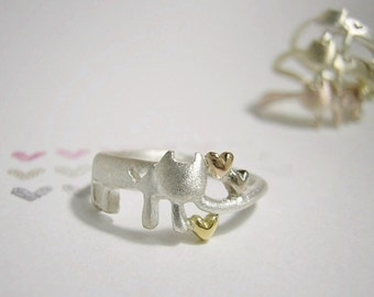 """cat silver ring """" meow that found out the hearts """""""