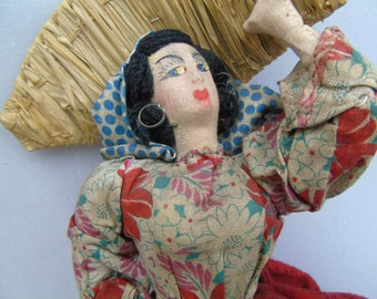 """Mid Century Vintage Continental Cloth Doll Fisher Woman, Need of Loving Care 7"""""""