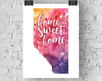 Alberta Home Sweet Home Art Print, AB Watercolour Home Decor Map Print, Giclee Canada Art, Housewarming Gift, Moving Gift, Hand Lettering