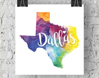 Custom Texas Map Art, Texas Watercolor Heart Map Home Decor, Dallas or Your City Hand Lettering, Personalized Gift, Giclee Print, 5 Colors