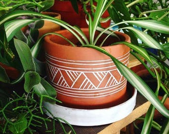 Terracotta Planter (Made to Order) - Plant Pot - Carved Geometric Pattern  - Pottery by Osa - Modern - Ethnic -Minimal - Boho - Pottery by O