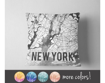 Watercolor New York City map throw pillow