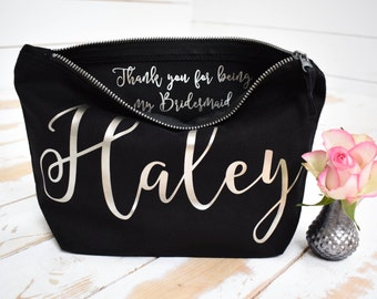 Personalised Bridesmaid Gift Make Up Bag - Thank you Bridesmaid, Maid of Honour Gift - Unique Gift for Bridal Party, Makeup Cosmetic Bags