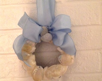 Sea Shell Covered Grape Vine Wreath with Blue Ribbon