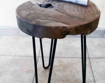 Table low wood, coffee table, table teak, teak table, round table, round table