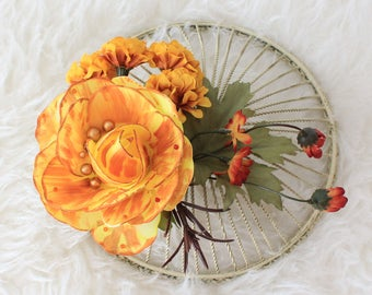 Flower Fascinator, Flower Hair Clip, Hair Accessory, Rustic Flower Headpiece, Woodland Fascinator,Yellow Flower,Accessories,Flower Headband