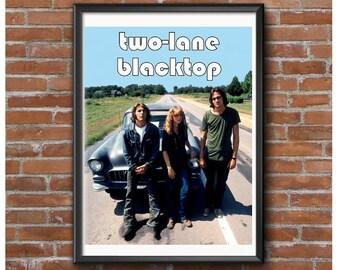 Dos Lane Blacktop cartel – coche culto película Dennis Wilson Laurie Bird James Taylor