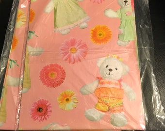 Vintage Teddy Bear Gift Wrap Dressed Girl And Boy Flowers Pink Green Pastel Baby Shower Birthday Wrapping Paper Scrapbook NOS 2 Sheets