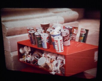Vintage 35mm Original Photo Slide Abstract Trash Street Scene