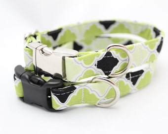 Dog Collar - Lime Green and Black Quatrefoil