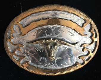 1970's Longhorn Western Belt Buckle/Texas Longhorn/Cowboy Belt Buckle