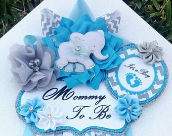 Baby Boy Elephant Baby Blue Gray Themed Mommy To Be Baby Shower Corsage