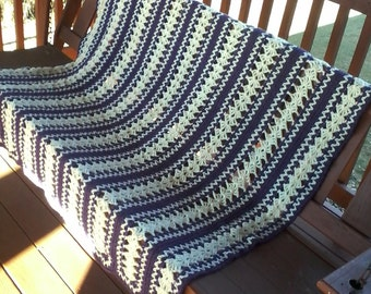 FREE SHIPPING:  Mile a minute crochet afghan 48 x 64