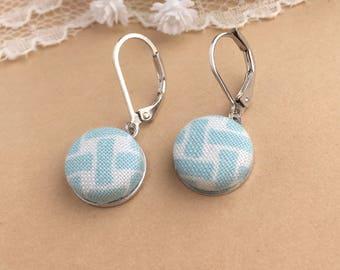Light Blue Fabric Earrings, Blue Lattice, Fabric Earrings, Lever Back Earrings, Dangle Earrings, Button Earrings, Simple Earrings